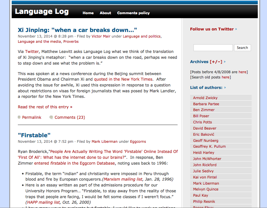 screenshoto of the language log