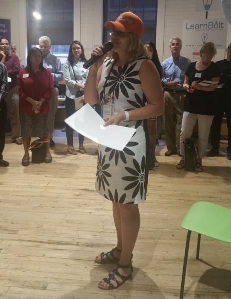 Founder Dr. Eleni Miltsakaki pitching Choosito at the Summer Showcase (image courtesy of Colin W. Barry)